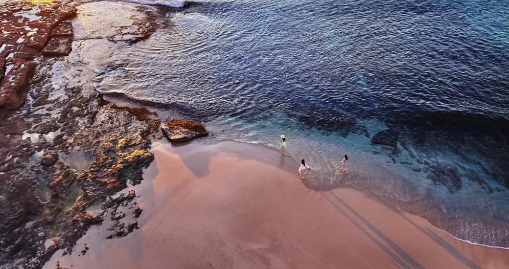 An aerial view of the beach at Red Bluff in Kalbarri, Western Australia