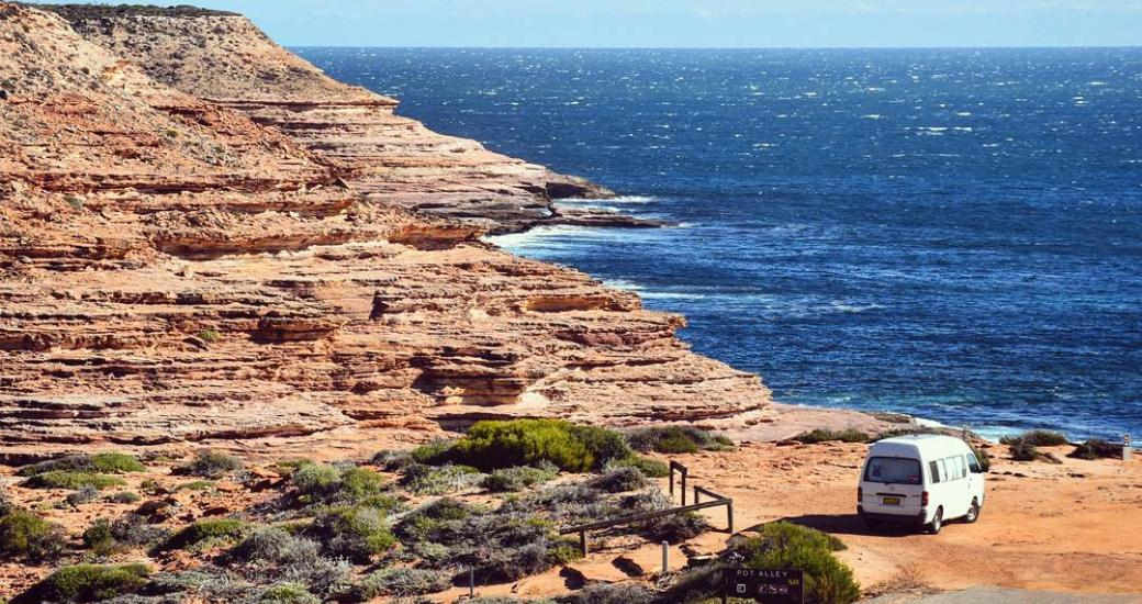 An aerial view of Pot Alley, along Kalbarri's Coastal Cliffs, Western Australia