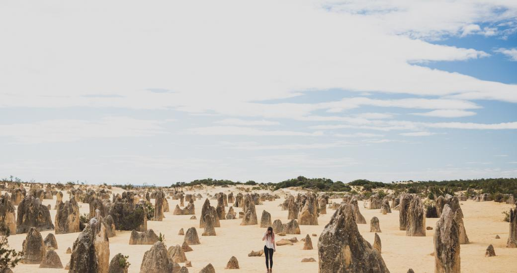 Girl in the Pinnacles Desert Nambung National Park Western Australia