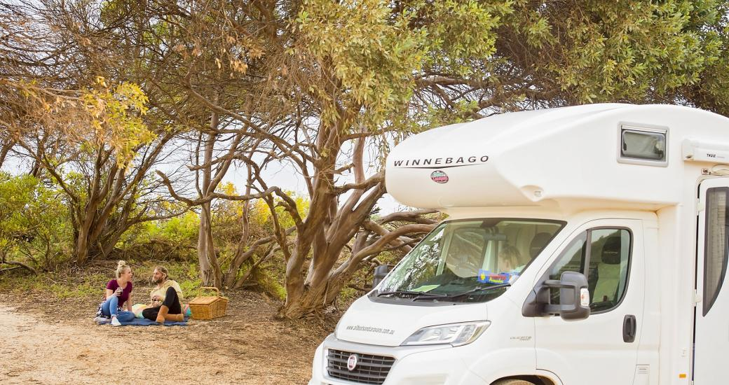 Caravan RV Couple Sandy Cape Coastal Nodes, Jurien Bay, Indian Ocean Drive