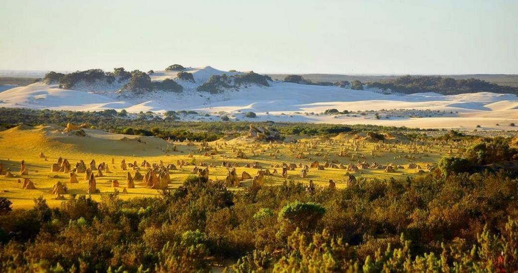 Pinnacles Desert and white sand dunes Nambung National Park Western Australia