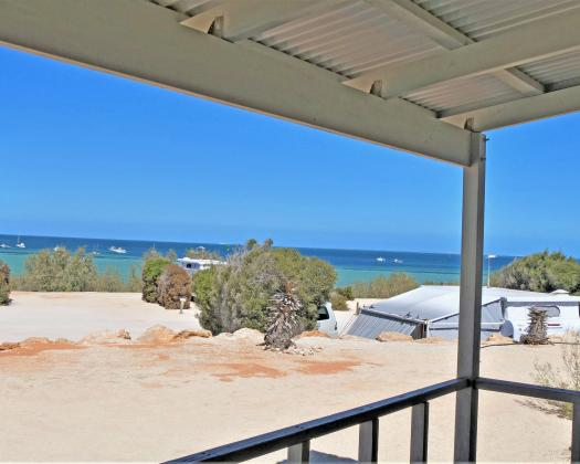 Looking out from a cabin at Denham Seaside Caravan Park, Shark Bay, Western Australia