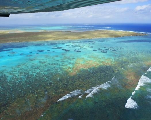 An aerial view the Houtman Abrolhos Islands off Geraldton, seen from scenic flight with Kalbarri Scenic Flights, Western Australia