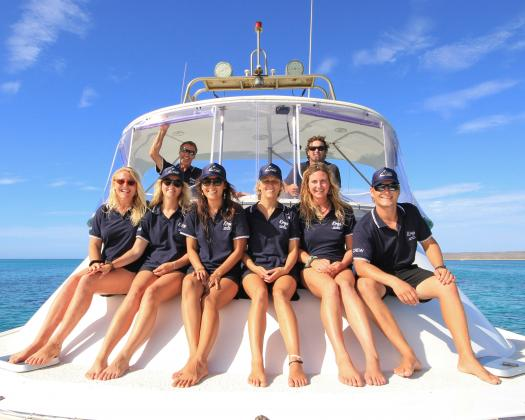 Crew on boat with Kings Ningaloo Reef Tours, Western Australia