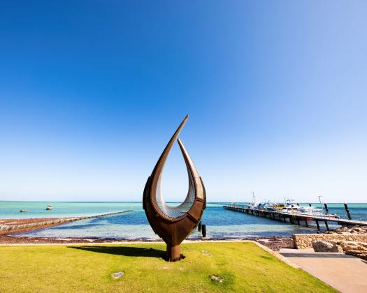 The Hartog sculpture on the foreshore in Denham, in Shark Bay World Heritage Area, Western Australia