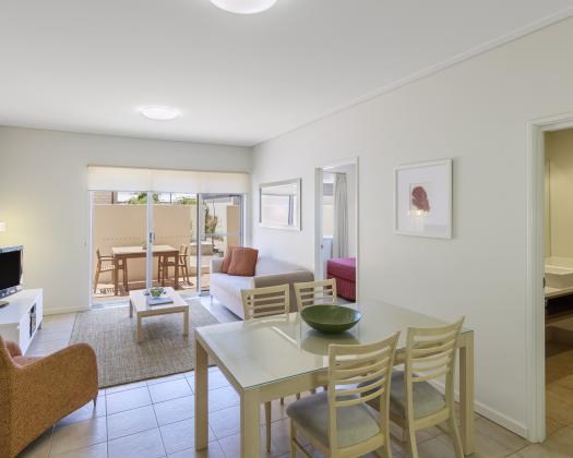 One Bedroom Apartment Lounge / Dining, Nesuto Geraldton Apartment Hotel, Geraldton, Western Australia