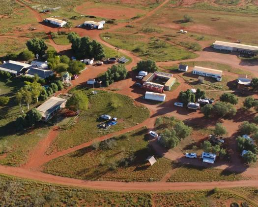 Homestead Accommodation and Bush Camp from the air, Giralia Station, Western Australia