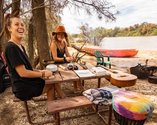 Fun and games on the banks of the Murchison River, Murchison Experience, Kalbarri, Western Australia