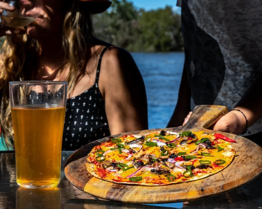 Pizza on the banks of the Murchison River, Murchison Experience, Kalbarri, Western Australia