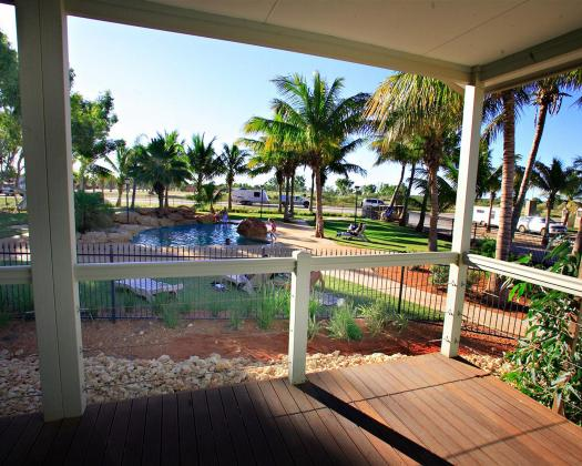 Pool-view cabin, RAC Exmouth Cape Holiday Park, Exmouth, Western Australia