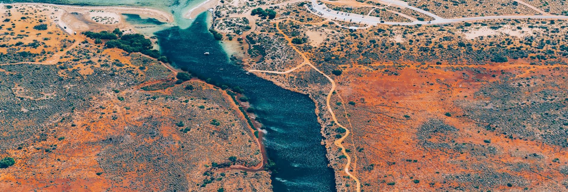 An aerial view of Yardie Creek in Cape Range National Park, Western Australia