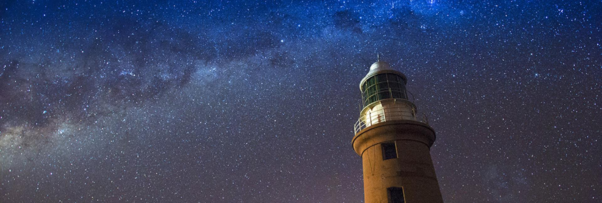 Starry night at Valmingh Head Lighthouse, Exmouth, Western Australia
