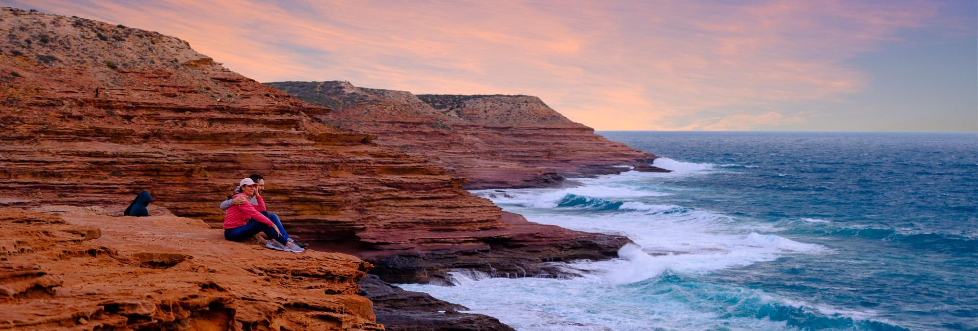 Kalbarri National Park Western Australia Red Bluff Coastal Cliff couple