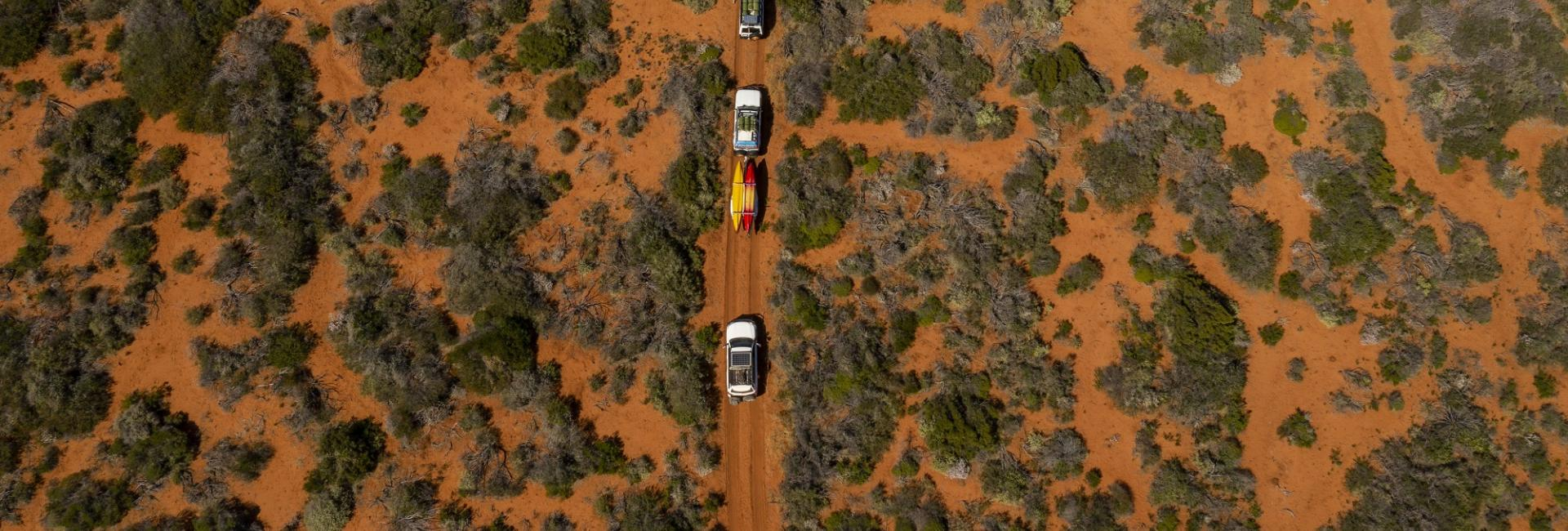 Shark Bay red dirt drive car aerial