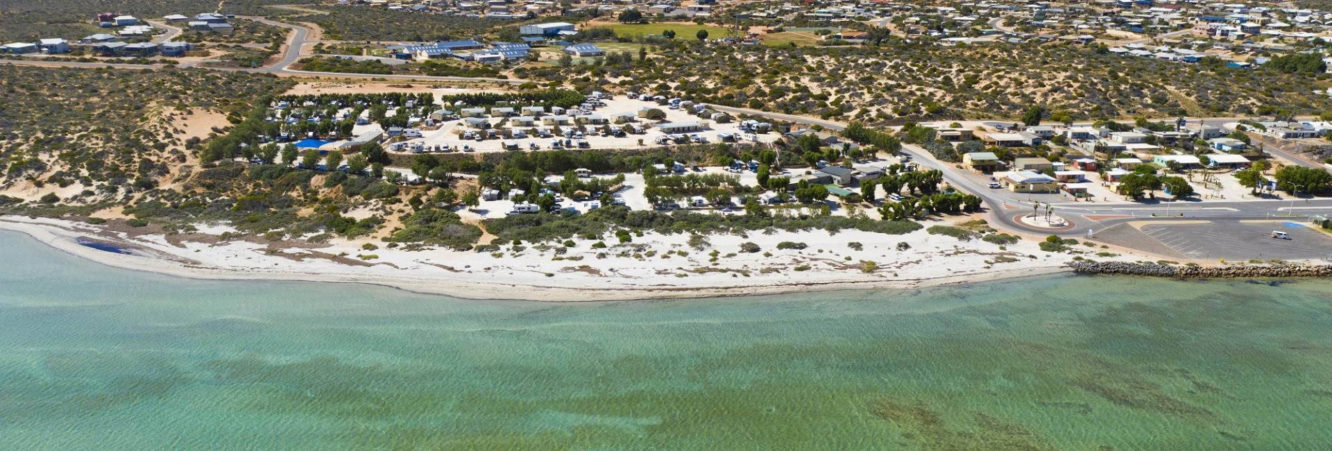 Denham aerial town beach Shark Bay