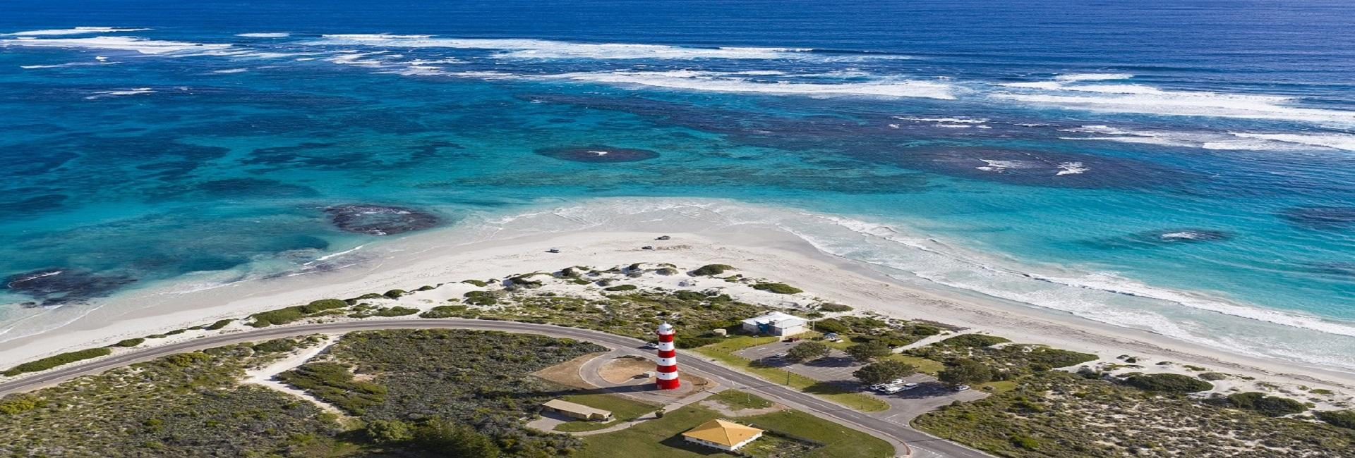 An aerial view over Point Moore Lighthouse in Geraldton, Western Australia