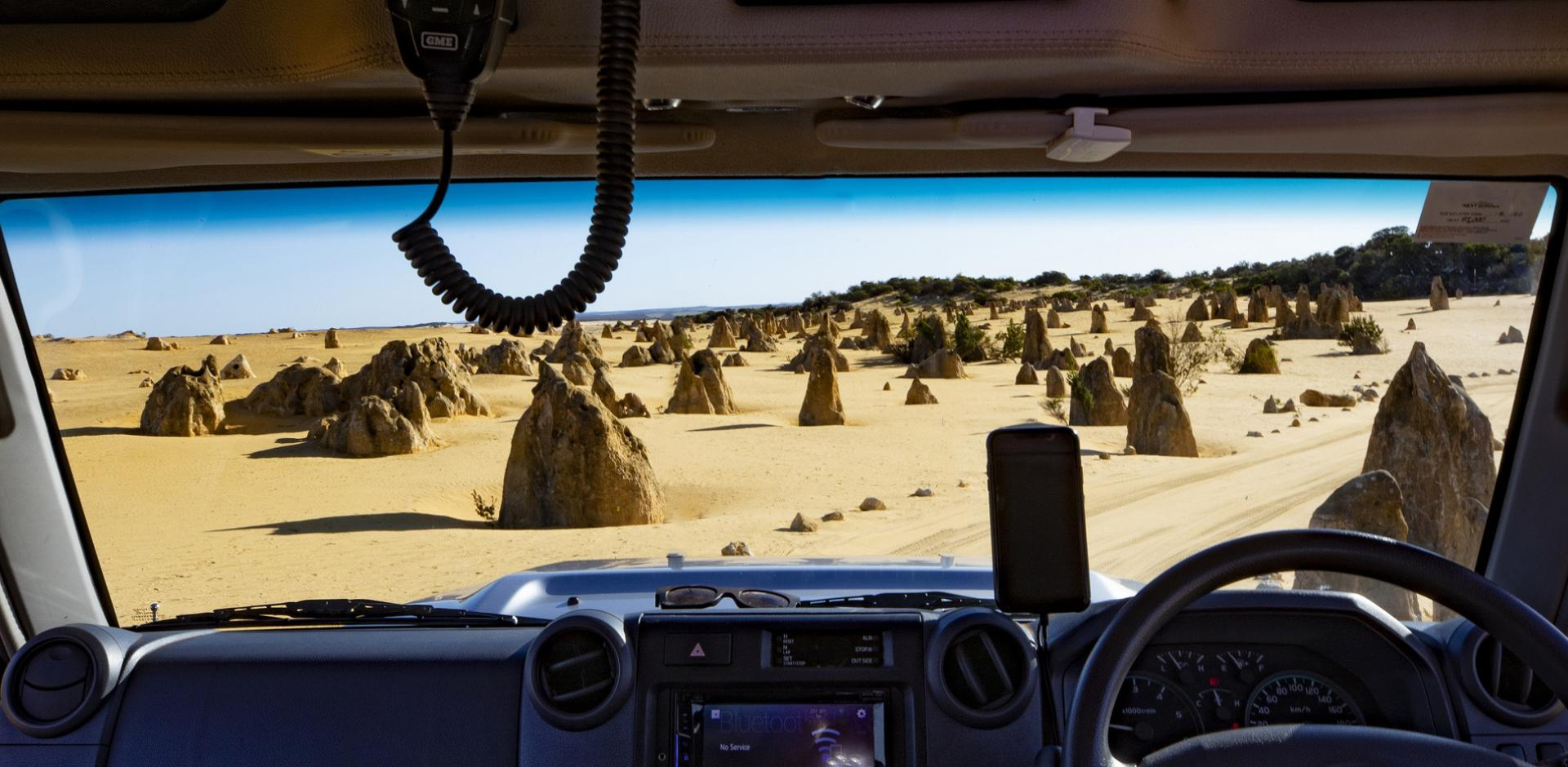 Roadtrip the Coral Coast Highway, the Pinnacles desert 4WD car Western Australia