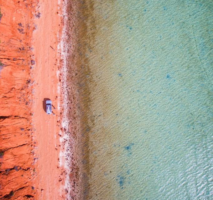 An aerial photo of the contrasting landscape in the Shark Bay World Heritage Area. Image credit: Summersite