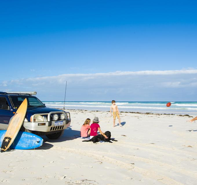 Beach-goers enjoy sunshine at Dongara-Port Denison South Beach, Western Australia