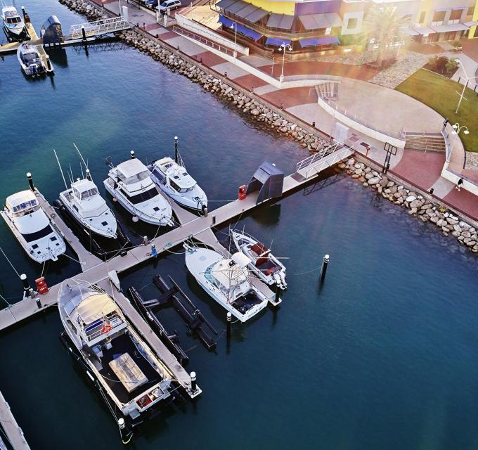 An aerial view of boats in Geraldton's Marina, Western Australia