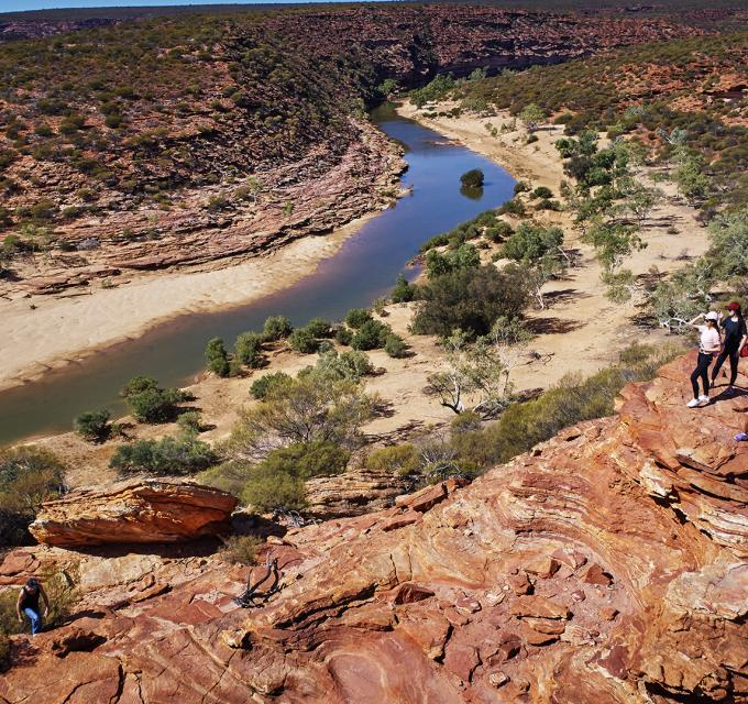 Overlooking Nature's Window and the Murchison River in Kalbarri National Park, Western Australia