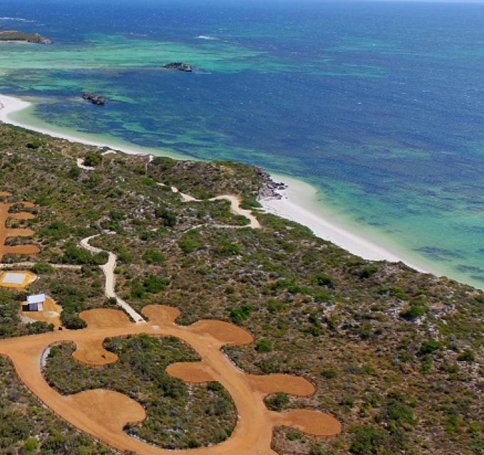 An aerial view of nature-based campsite, Milligan Island, situated along the Indian Ocean Drive in Western Australia