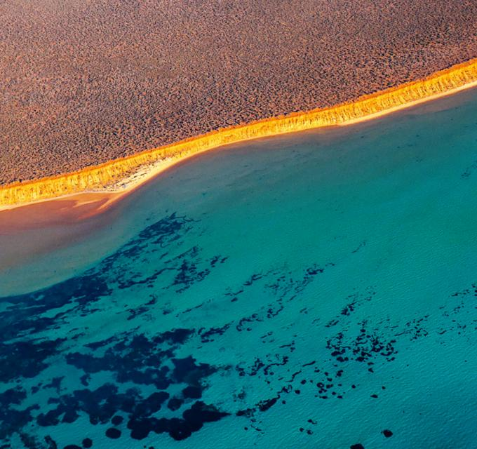 An aerial view of the contrasting colours in Shark Bay World Heritage Area, Western Australia