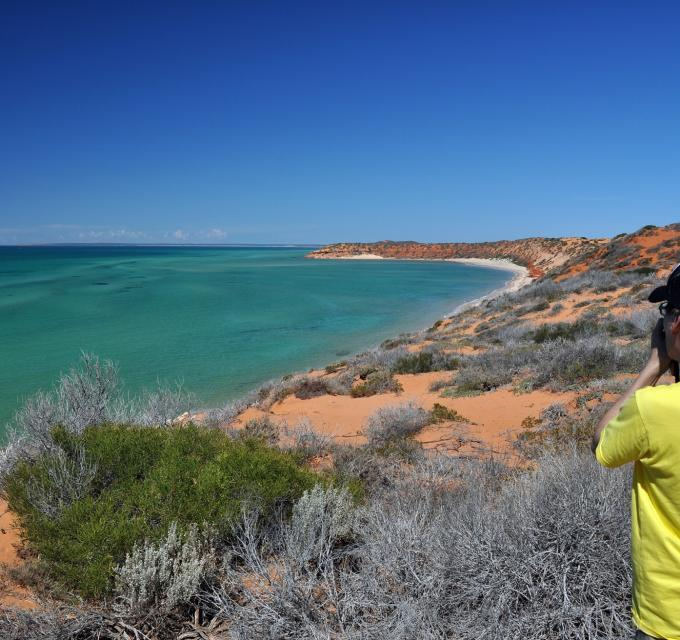 A tourist sits looking out at the ocean from Skipjack Point, in Francois Peron National Park, Shark Bay World Heritage Area, Western Australia