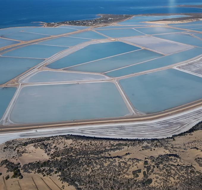An aerial view of Useless Loop in the Shark Bay World Heritage Area, Western Australia