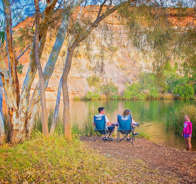 Relaxing on the shores of Ellendale Pool, Greenough, near Geraldton, Western Australia
