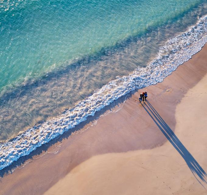An aerial view of a Geraldton beach, Western Australia
