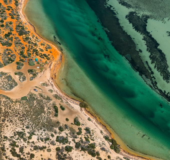 An aerial view of Big Lagoon in Francois Peron National Park, in the Shark Bay World Heritage Area, Western Australia. Image by Tommy Clarke Photography