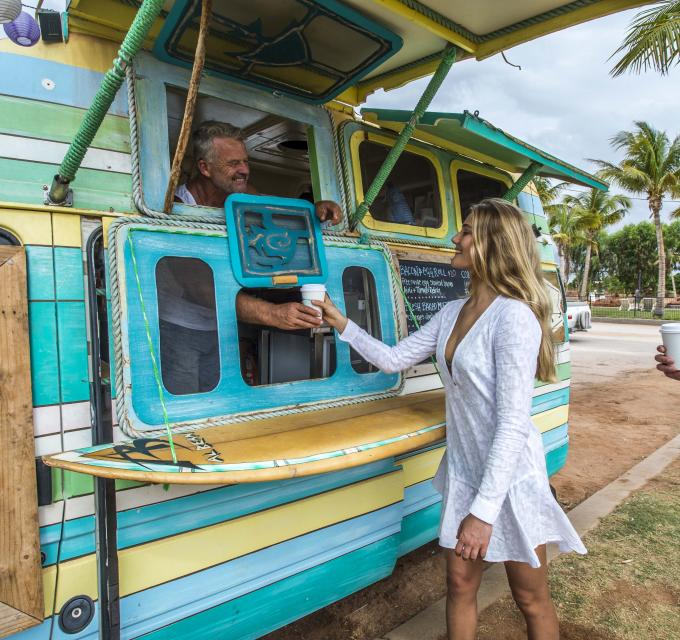 Ordering coffee from the Short Order Coffee van in Exmouth, Western Australia