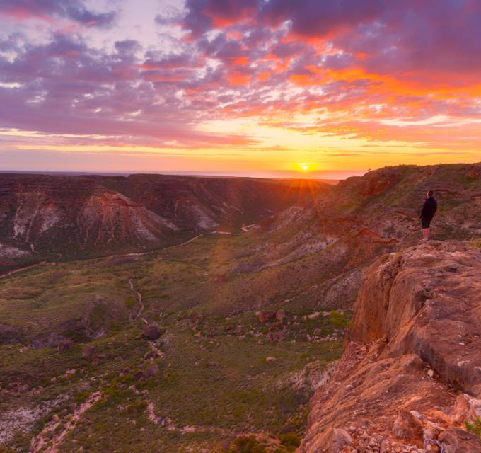 Sunrise over Shothole Canyon in Cape Range National Park, near Exmouth, Western Australia