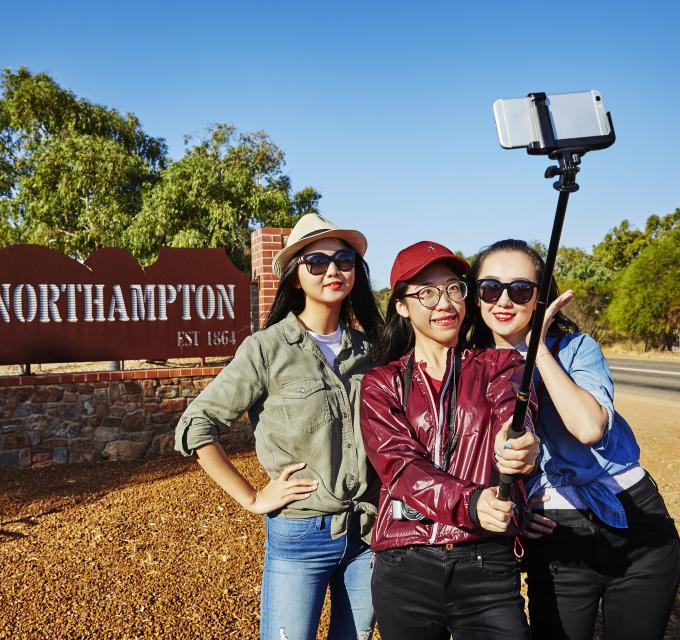 Selfie in front of the Northampton sign, Western Australia