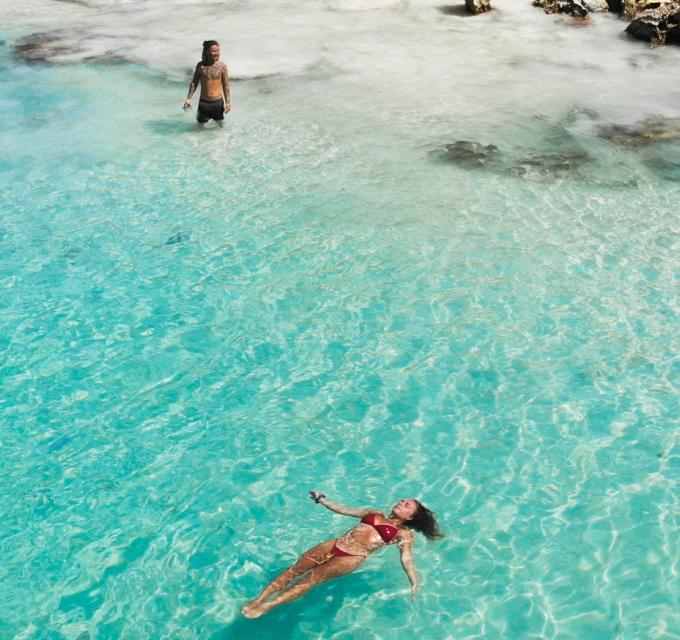 Sandy Cape Jurien Bay Western Australia couple swimming @SarahByden