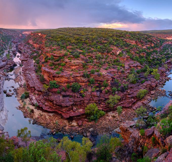 Kalbarri National Park Z Bend The Loop sunset aerial drone