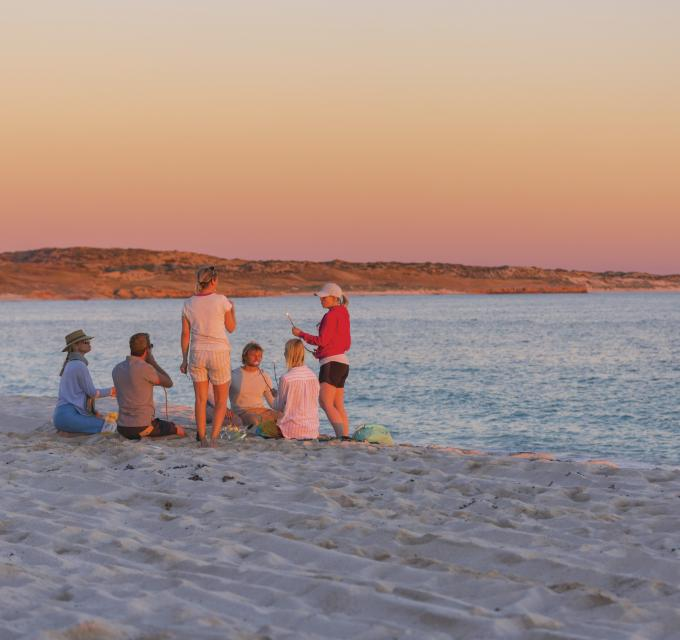 Purdy Point Coral Bay sunset friends Ningaloo Reef